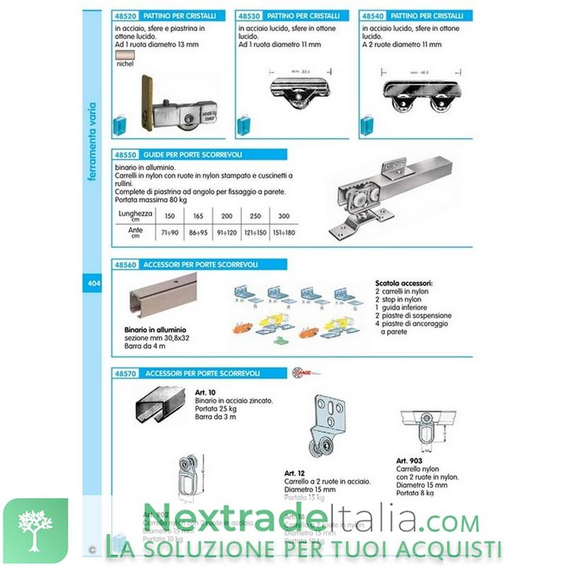 Guide con binario in alluminio per porte scorrevoli da 151 a 180 cm