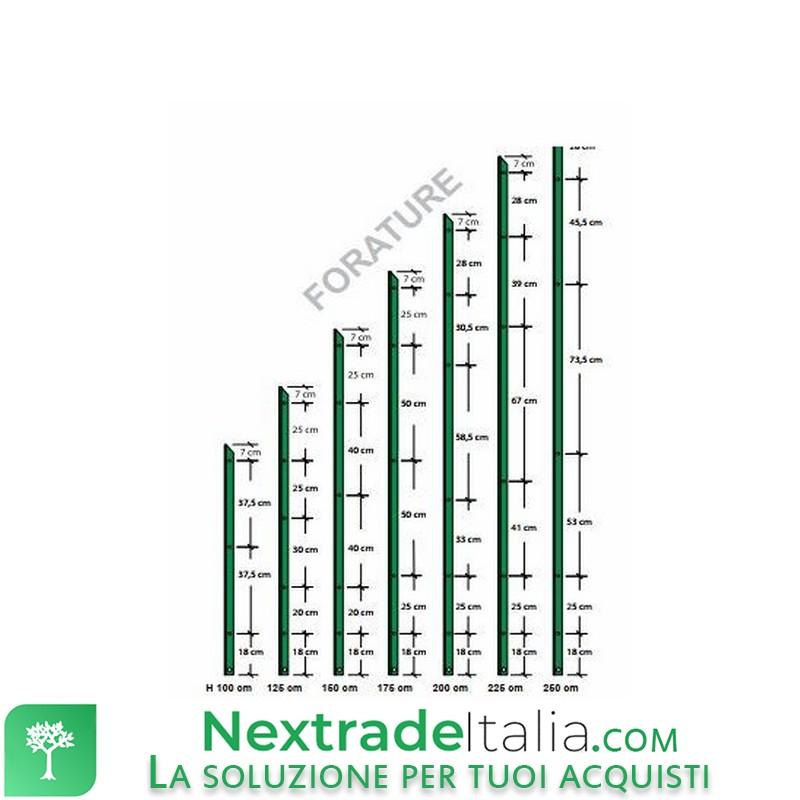 Paletto a T altezza 225 CM sezione mm 30x30x3 PLASTIFICATO Palo Verde da GIARDINO recinzione in ferro CARTOMATICA Confezione da 10PZ